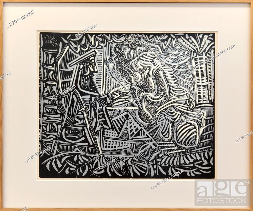 """Stock Photo: """"Variation sur """"Le Dejeuner sur l'herbe"""" de Manet"""", 1961, Pablo Picasso, Picasso Museum, Paris, France, Europe."""