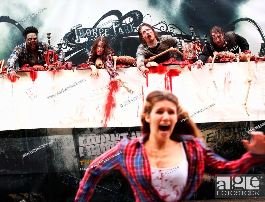 Zombies' appear in a gory billboard in Shoreditch, London