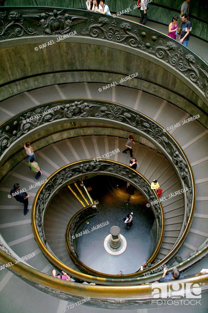 Stock Photo: State of the Vatican City Italy  Circular staircase inside the Vatican Museums.