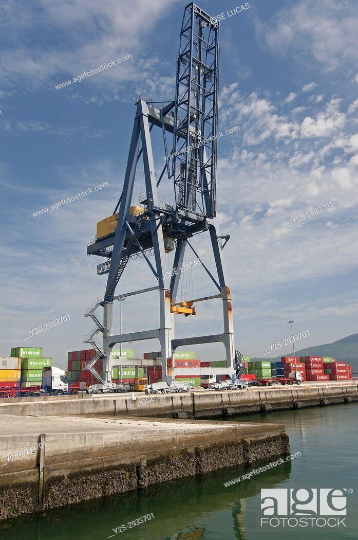 Stock Photo: Port - container dock, Villagarcia de Arosa, Pontevedra province, Region of Galicia, Spain, Europe.