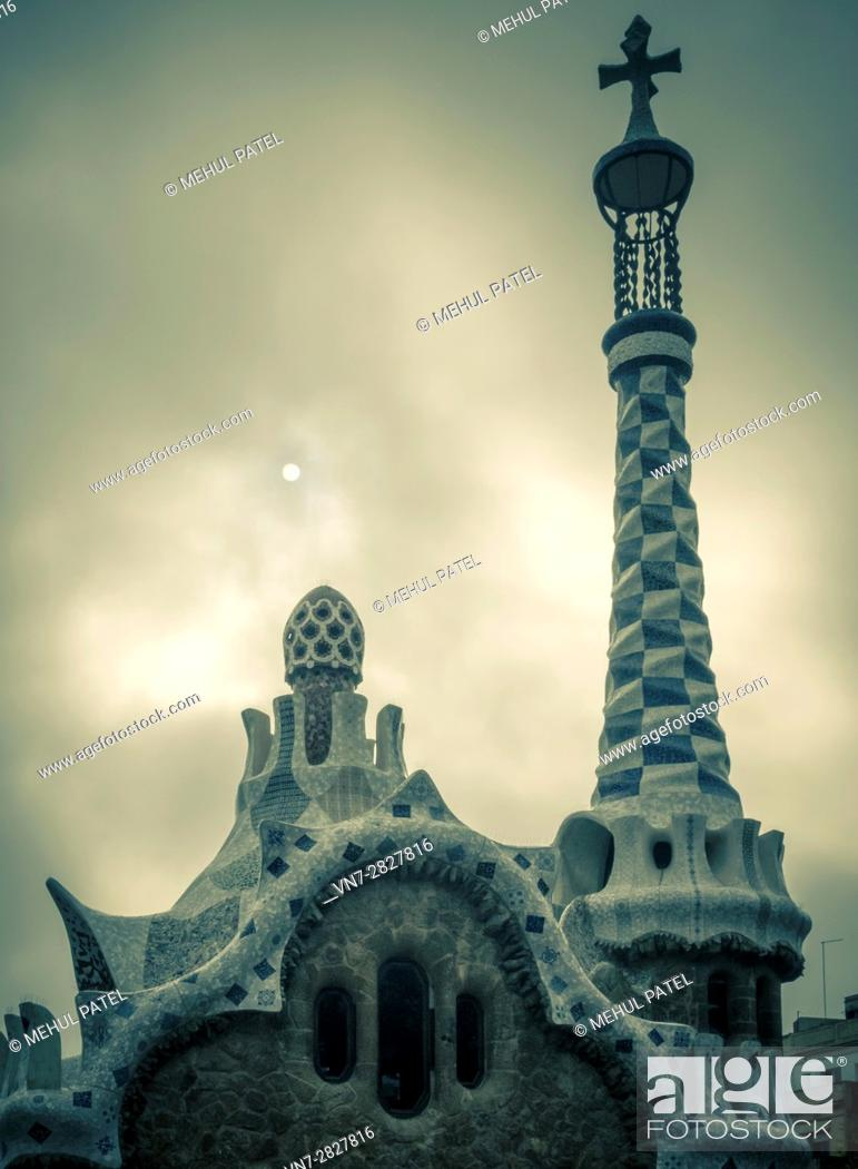 Stock Photo: Roof detail on the Porter's Lodge building in Parc Guell, Barcelona, Catalonia, Spain.