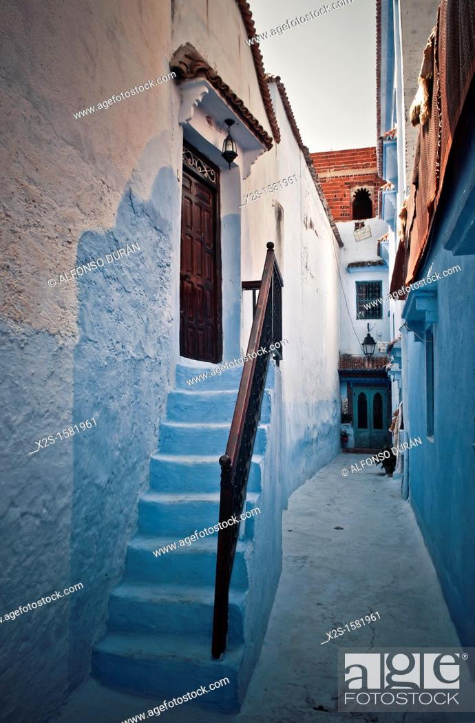 Stock Photo: Stoop home, Chefchaouen, Morocco.