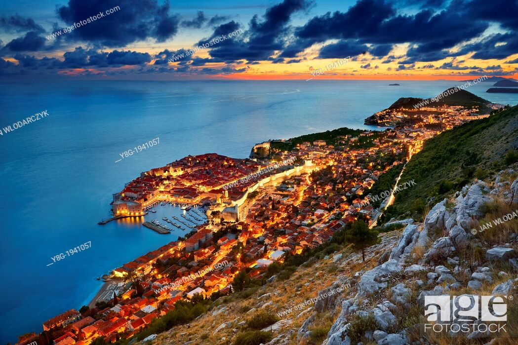 Stock Photo: Croatia - Dubrovnik, view at Old Town City by night, Dalmatia, Croatia.