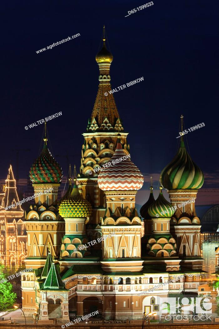Stock Photo: Russia, Moscow Oblast, Moscow, Red Square, elevated view of Saint Basils Cathedral, dusk.