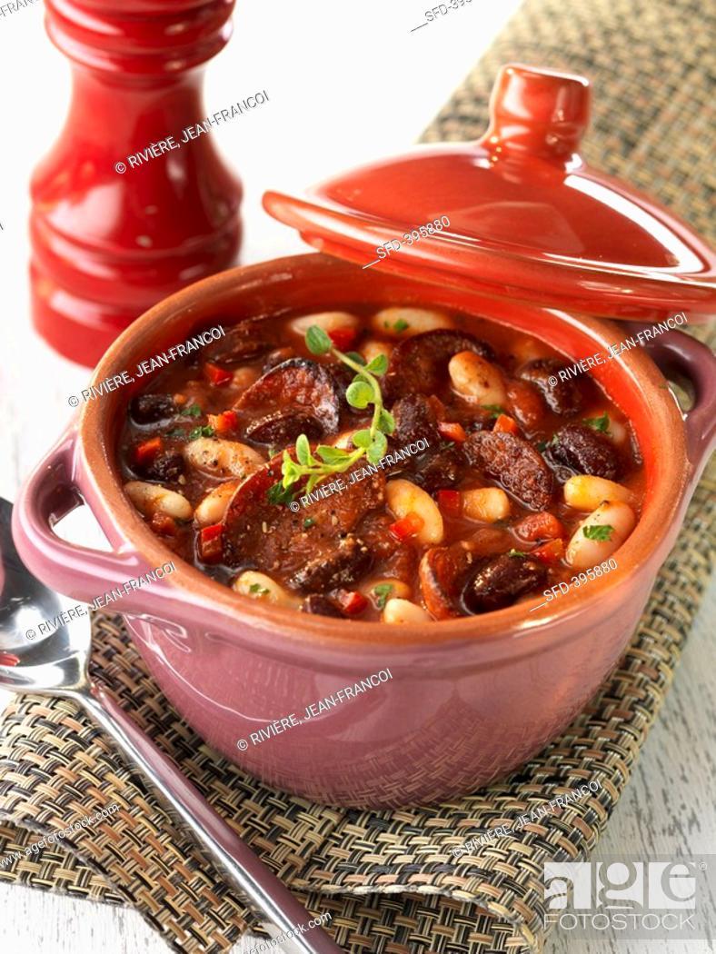 Stock Photo: Bean stew with chorizo.