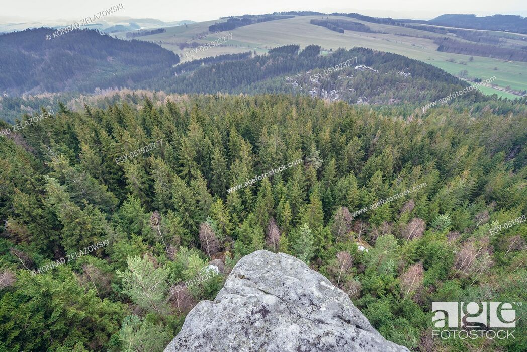 Stock Photo: Aerial view from Ostas mountain Nature Reserve in Table Mountains range in Czech Republic.