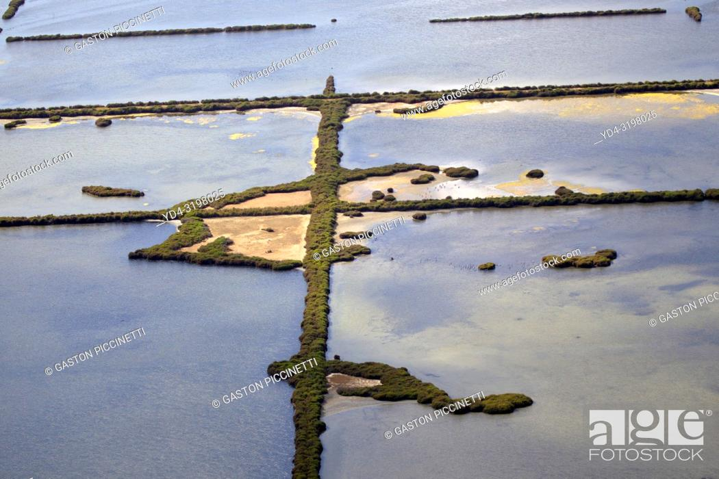 Photo de stock: Aerial View of Salinas de Sa Vall, Colonia Saint Jordi, Mallorca, Balearic Island, Spain. .