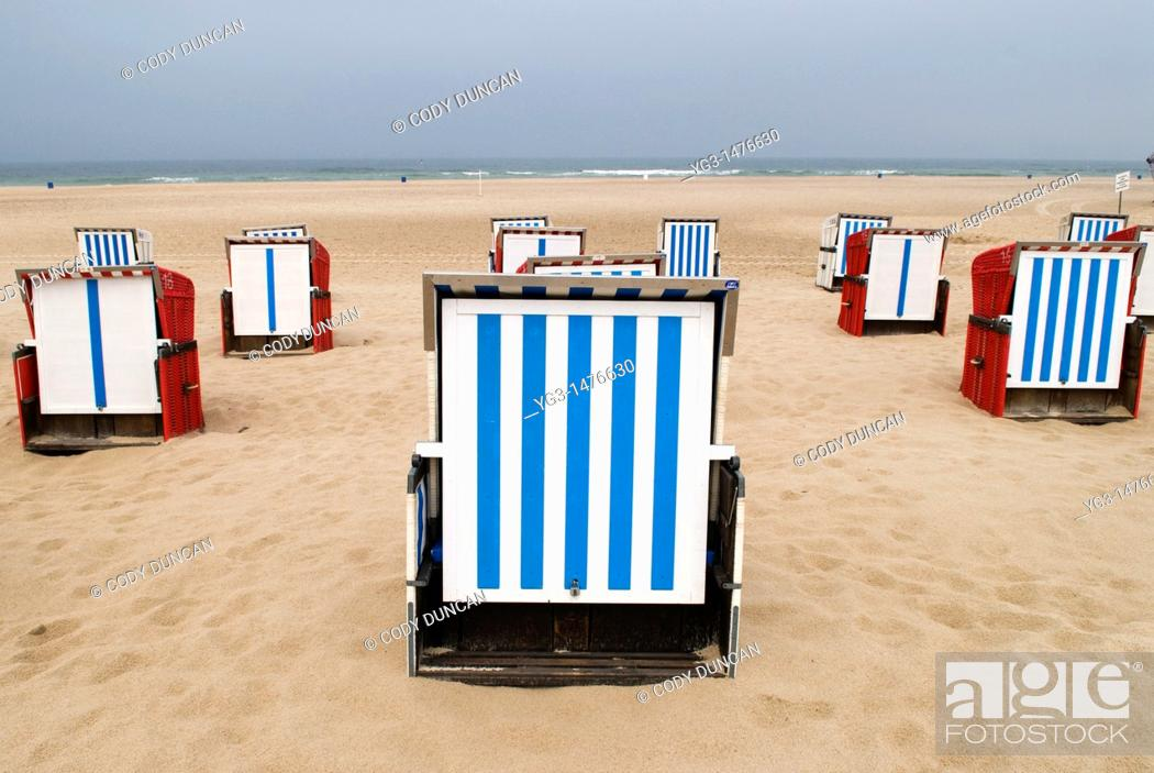 Stock Photo: Beach chairs are Baltic beach, Mecklenburg-Vorpommern, Germany.