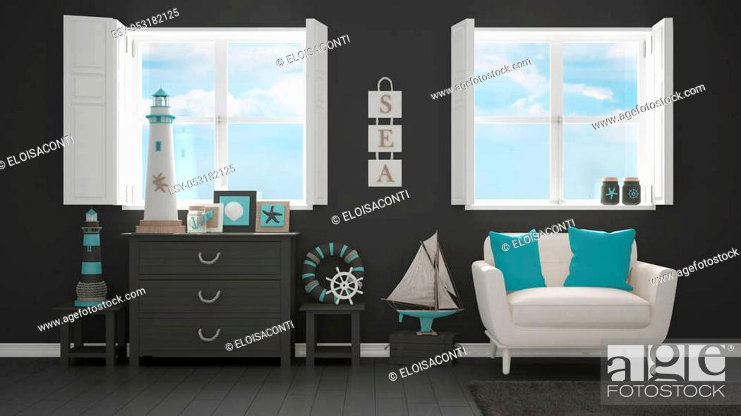 Stock Photo: Mediterranean gray living, panoramic windows, summer hotel resort interior design.