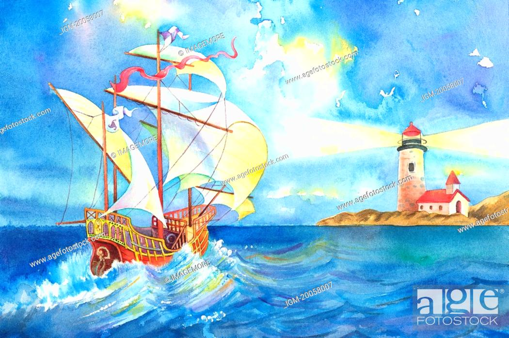 Stock Photo: Flower, Watercolor painting of sailboat on the sea and a lighthouse.