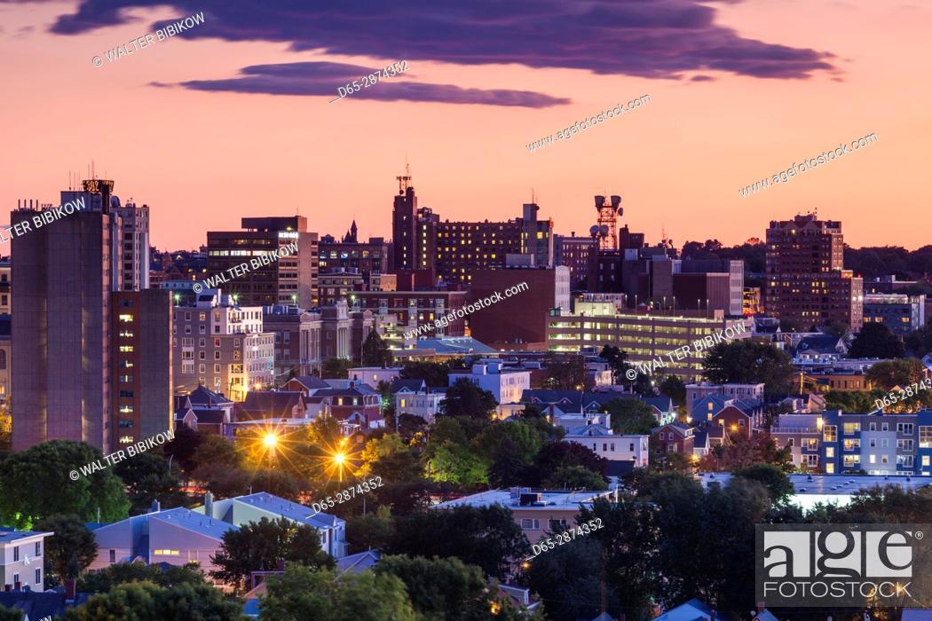 Stock Photo: USA, Maine, Portland, skyline from Munjoy Hill, dusk.