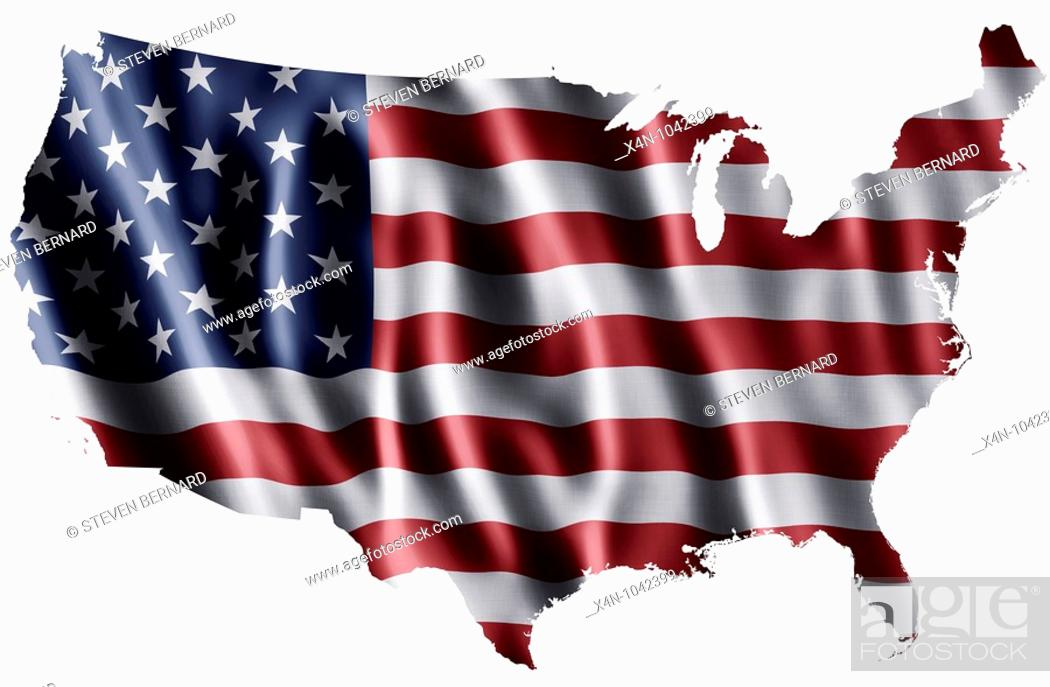 Imagen: National flag of the United States of America as a map.
