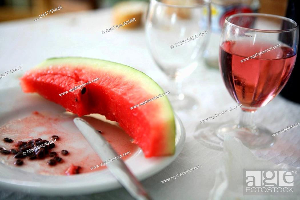 Stock Photo: The dessert was watermelon.