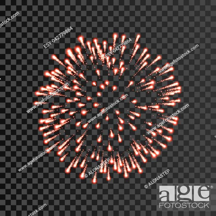 Stock Vector: Firework red bursting isolated transparent background. Beautiful night fire, explosion decoration, holiday, Christmas, New Year.