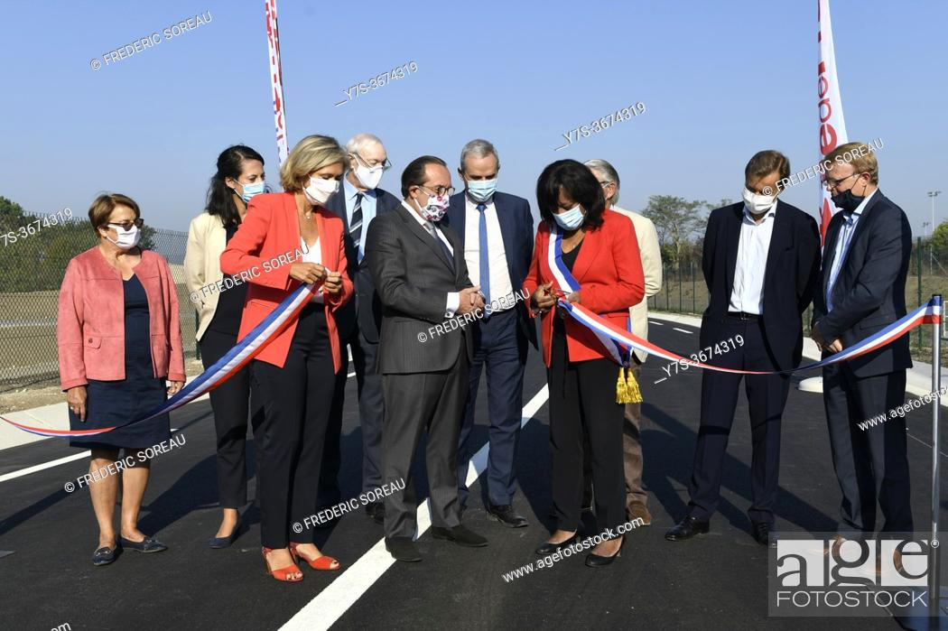 Stock Photo: Inauguration of the new departmental road in Sartrouville and Montesson with Valerie Pecresse, president of the Regional Council of ile-de-France and Pierre.