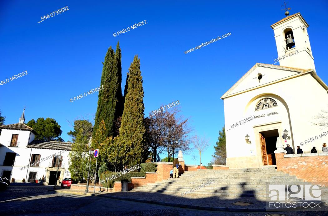 Stock Photo: Church of Santiago Apostol and Godoy palace in Villaviciosa de Odon, Madrid, Spain.