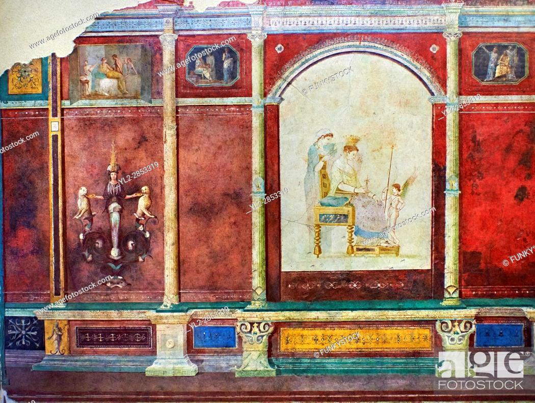 Stock Photo Roman Fresco Wall Decorations Of Bedroom B The Villa Farnesia Rome Museo Onale Romano National Museum Italy