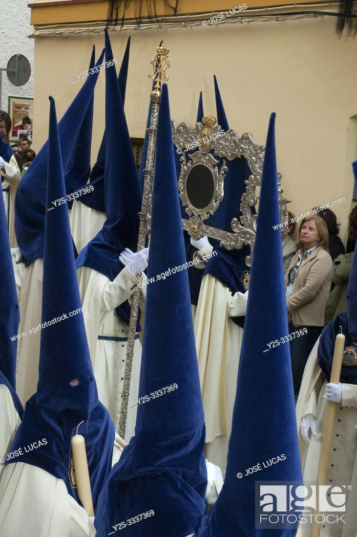 Stock Photo: Holy Week. Brotherhood of La Palma (Nazarenes). Cadiz. Region of Andalusia. Spain. Europe.