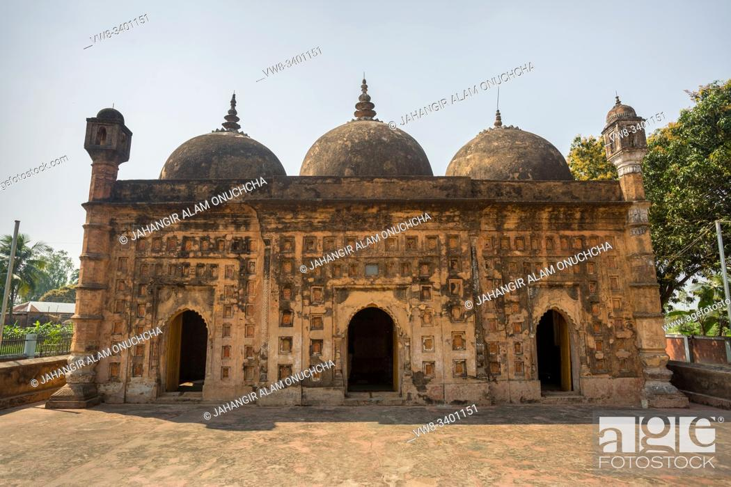 """Stock Photo: Bangladesh â. """" March 2, 2019: Nayabad Mosque Font views, is located in Nayabad village in Kaharole Upazila of Dinajpur District, Bangladesh."""
