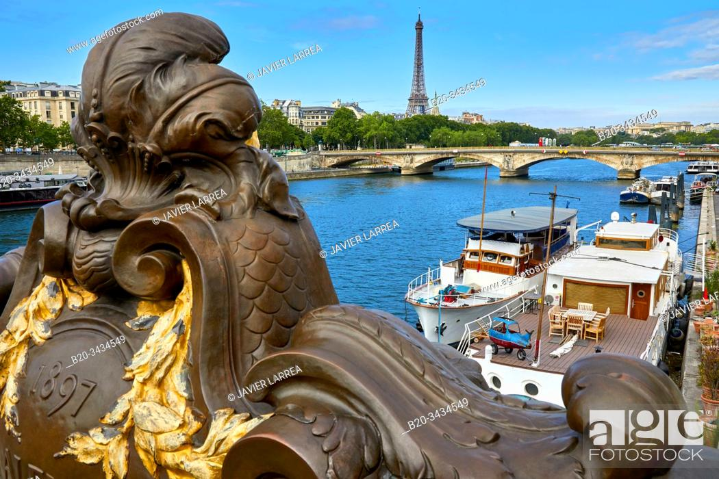 Stock Photo: Pont Alexandre III, River Seine, Eiffel tower, Paris, France.