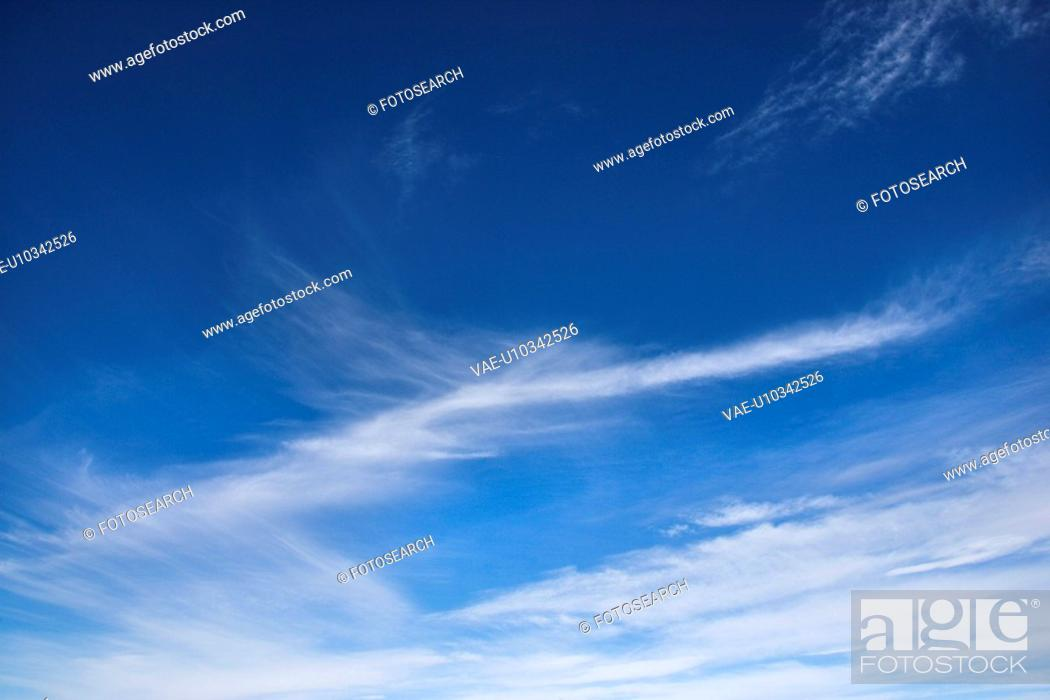 Stock Photo: Cirrus clouds in blue sky.