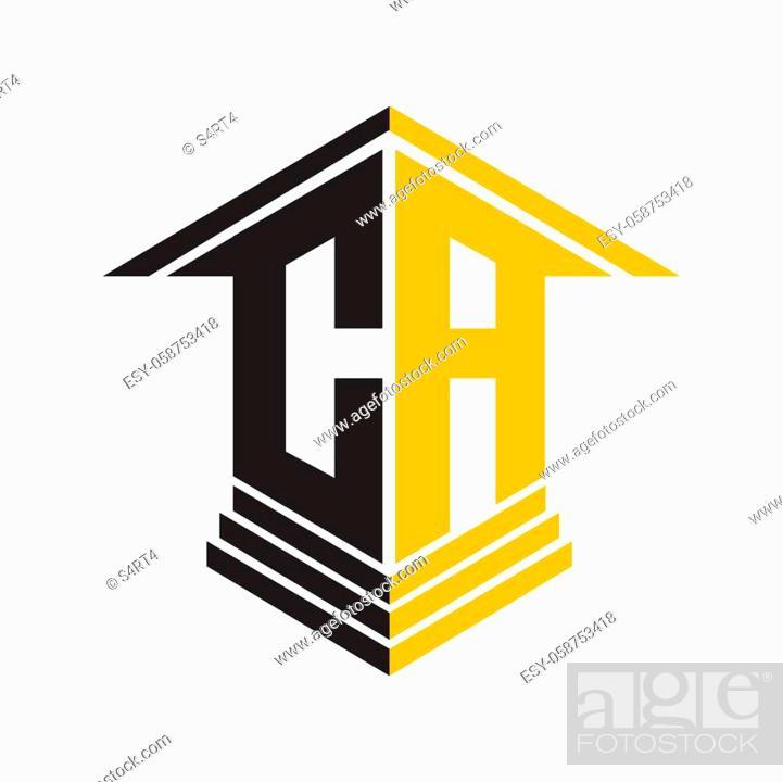 Vecteur de stock: CA perspectif letter house logo for real estate and construction.
