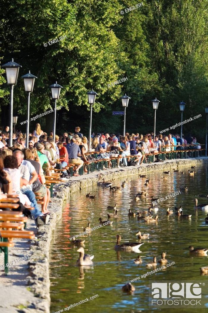 Stock Photo: Large group of people in Seehaus beer garden, English Garden, Munich.