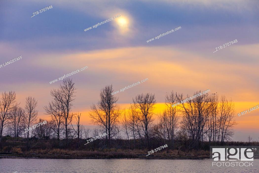 Stock Photo: Blue and orange winter sky over Shady Island in Steveston British Columbia Canada.