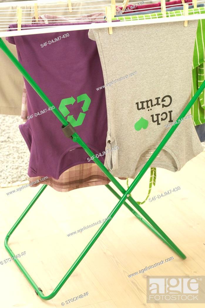 Stock Photo: Washing hanging on clothes horse.