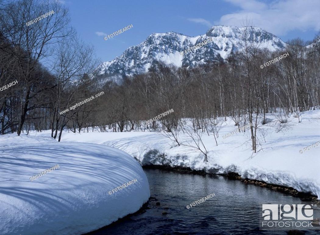 Stock Photo: Mt. Togakushi In Winter.