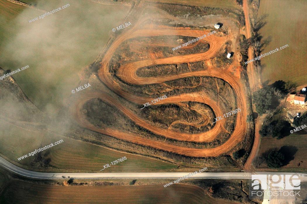 Stock Photo: Motocross track, aerial view, Berga, Barcelona province, Catalonia, Spain.