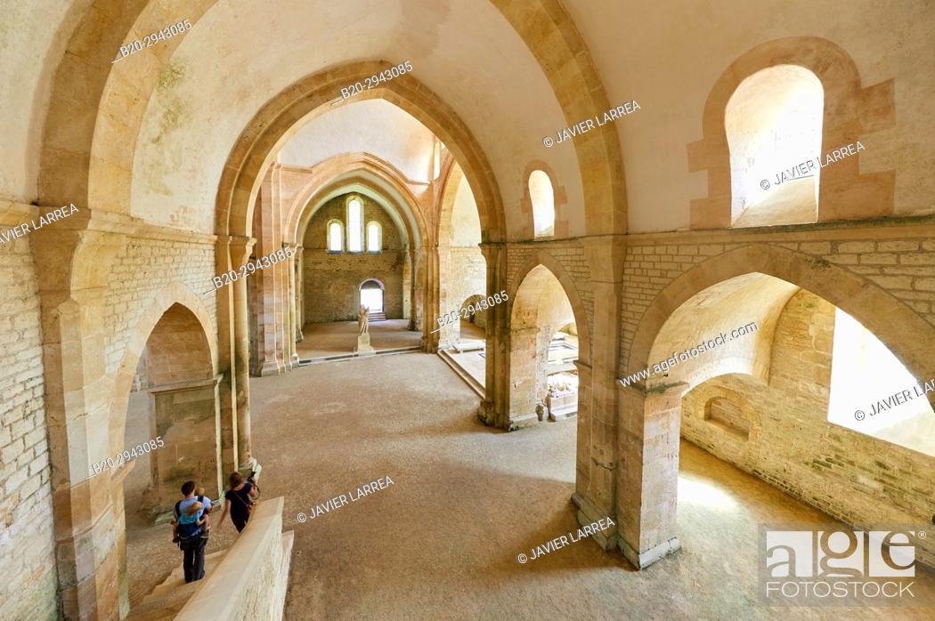 Stock Photo: The abbey church, Abbaye Royale de Notre Dame de Fontenay, Fontenay Cistercian Abbey, Montbard, Côte d'Or, Burgundy Region, Bourgogne, France, Europe.