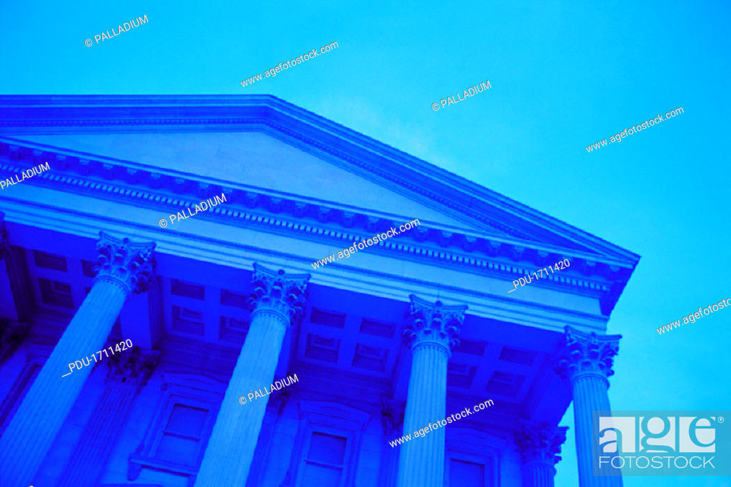 Stock Photo: Low angle view of Greek style columned building.