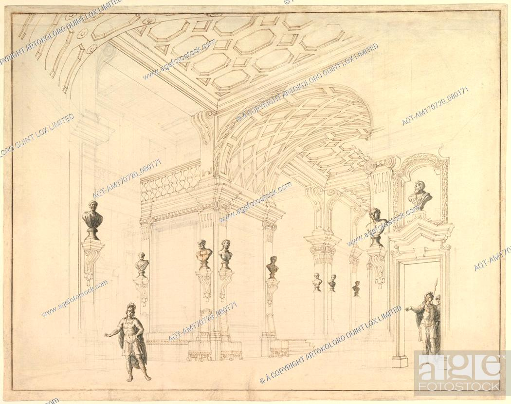 Stock Photo: Design for a Stage Set, 1696–1756, Pen and brown ink, brush and gray wash, over black chalk, 17-1/2 x 22-1/4 in. (44.5 x 56.