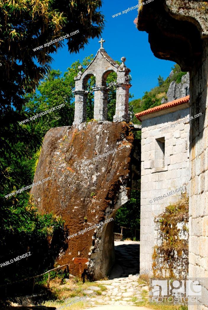 Stock Photo: Church of San Pedro de Rocas near Esgos, Orense province, Spain.