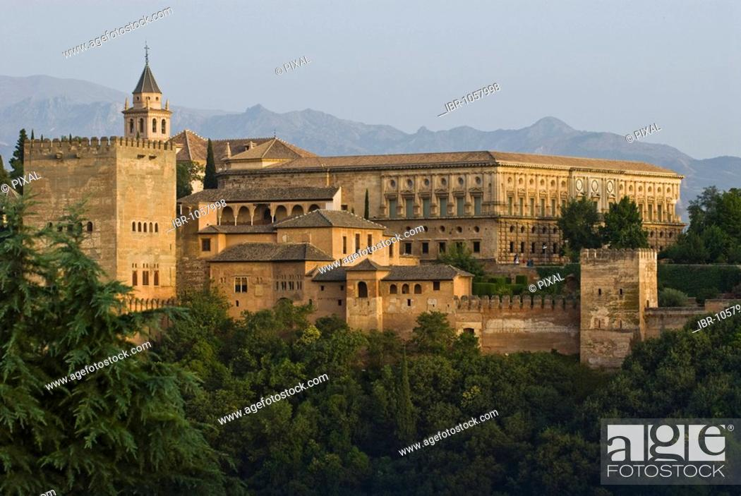 Alhambra as seen from the lookout point at Albayzin, Granada, Spain