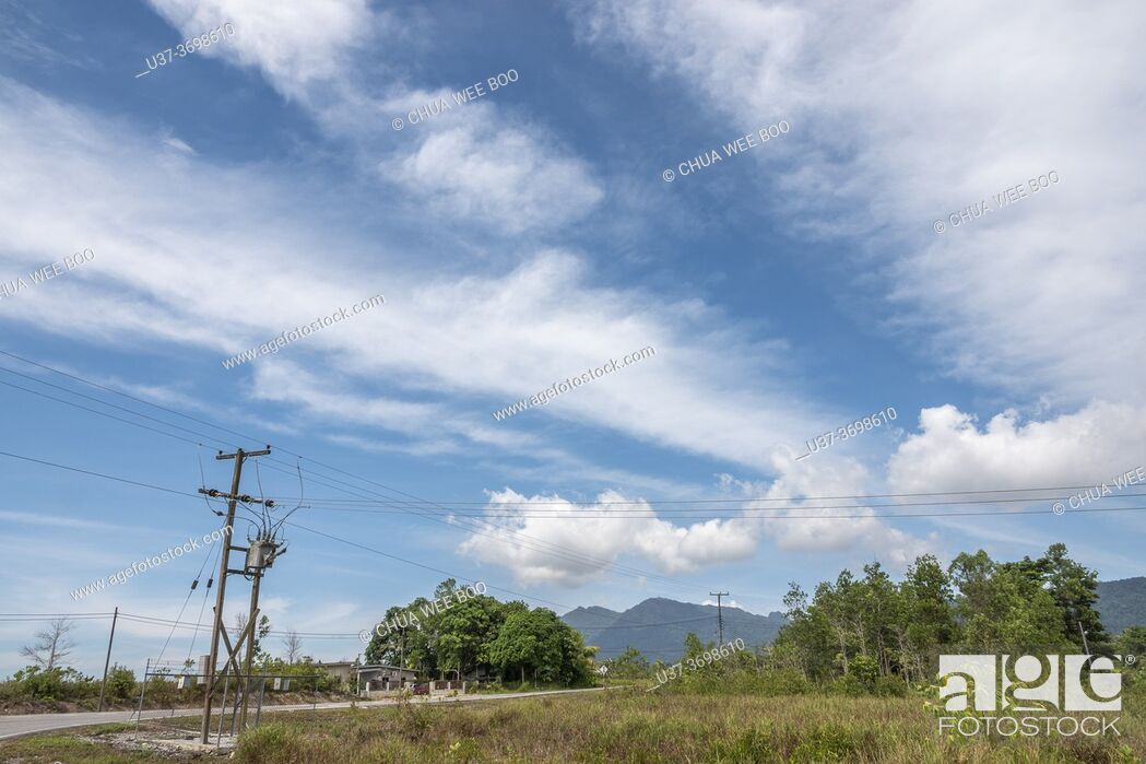Stock Photo: A road to Telaga Air, Matang, Sarawak, East Malaysia.
