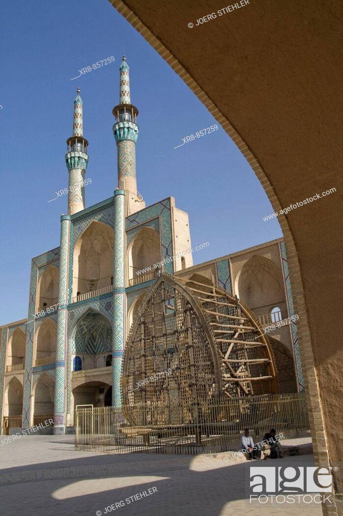 Stock Photo: Iran Yazd Masjed-e Mir Chaqmaq with Naql.