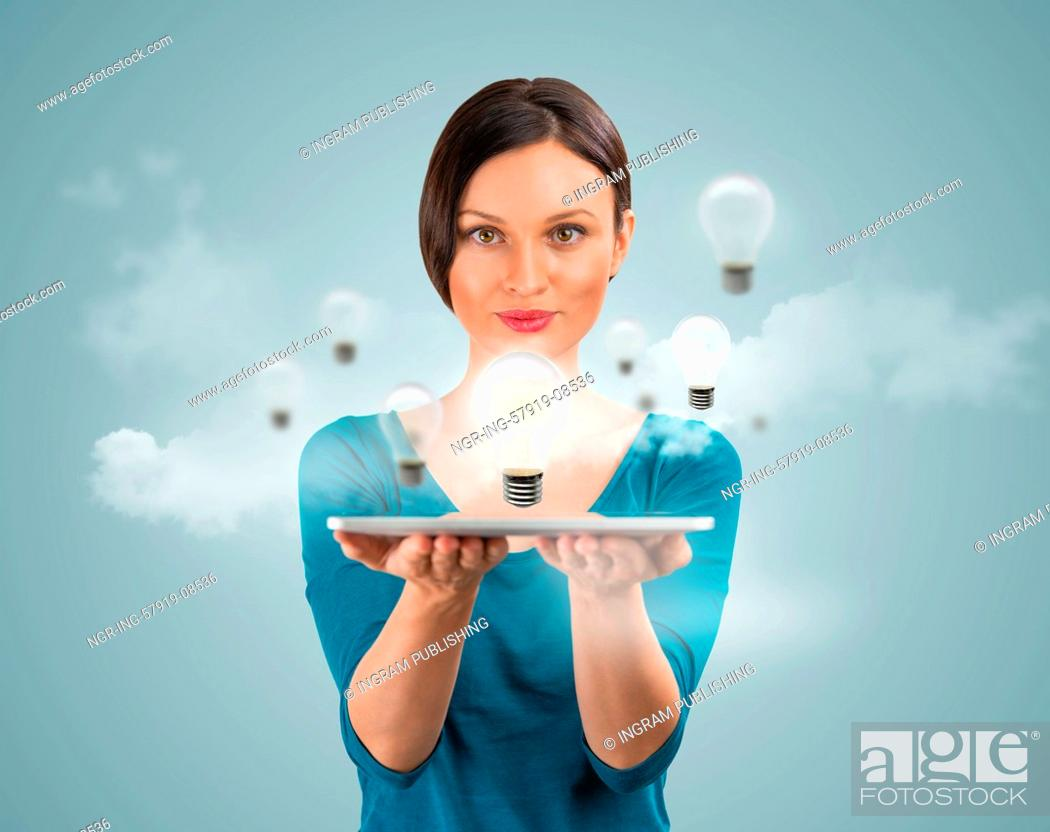 Stock Photo: Woman sharing her idea using tablet computer.