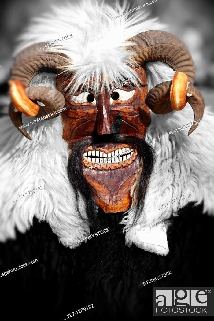 Stock Photo: Busó mask at the Busójarás spring festival. Mohács, Hungary.