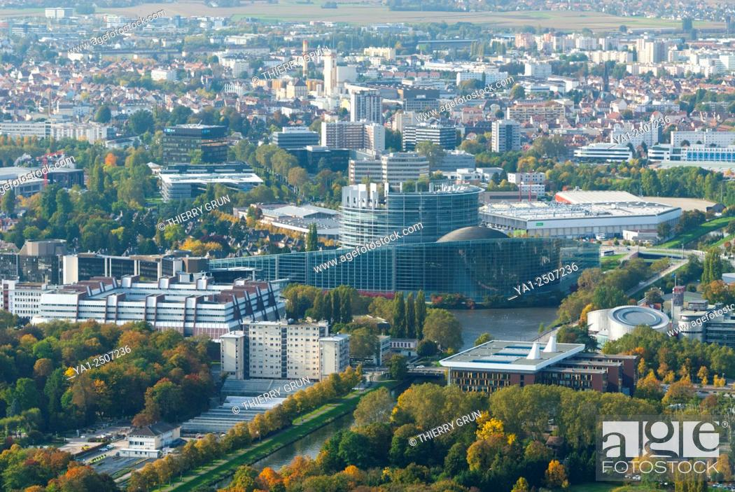 Stock Photo: France, Bas Rhin 67, Strasbourg, European Instututions buildings, Palace of Europe, Institute of Human Rights and European parliament aerial view.