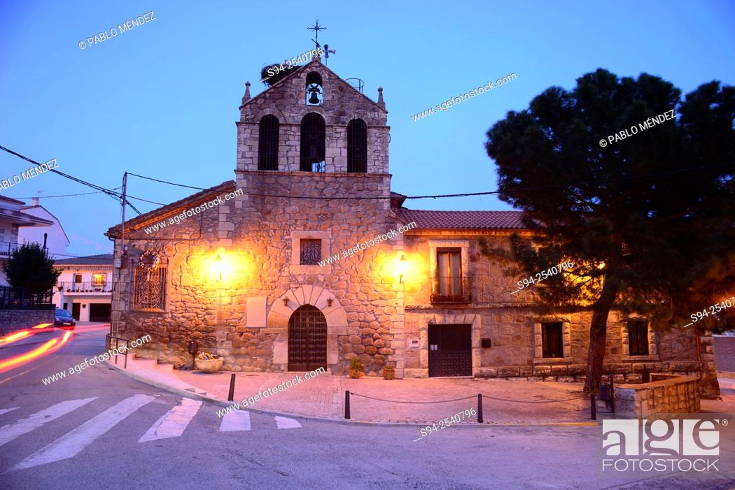 Stock Photo: Parish church of Nuestra Señora de la Asuncion in El Vellon, Madrid, Spain.