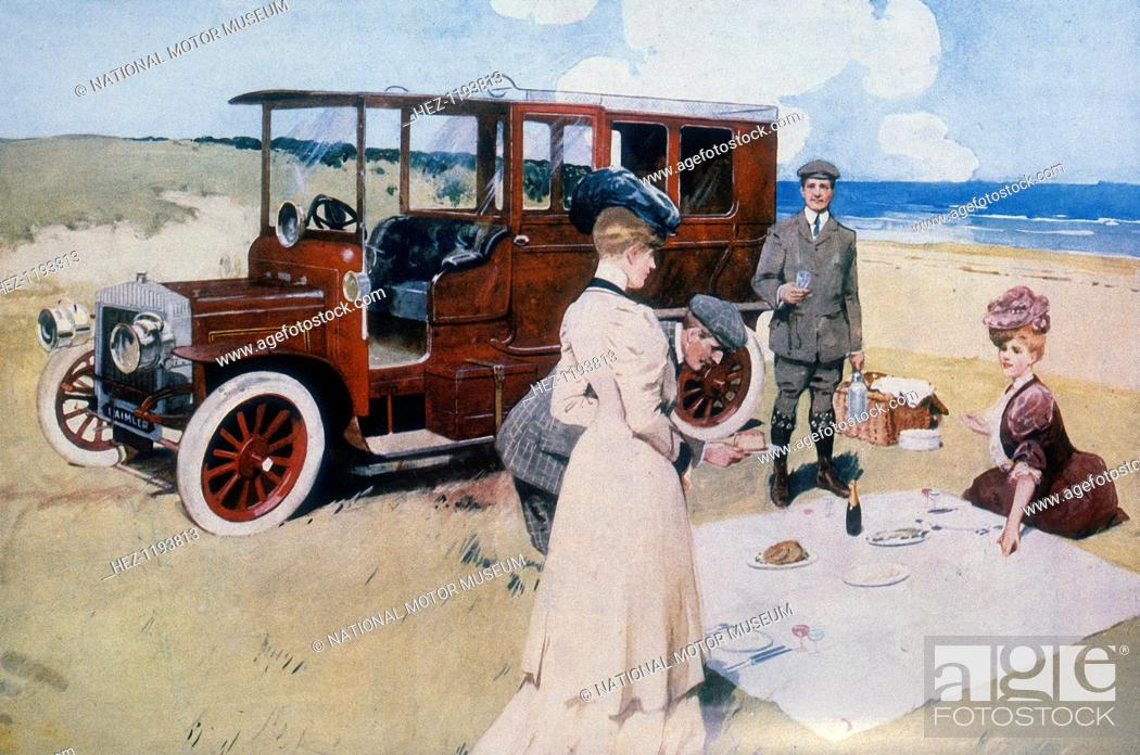 Stock Photo: Poster advertising Daimler cars, 1907. Two men and two women having a picnic on the beach next to their car.