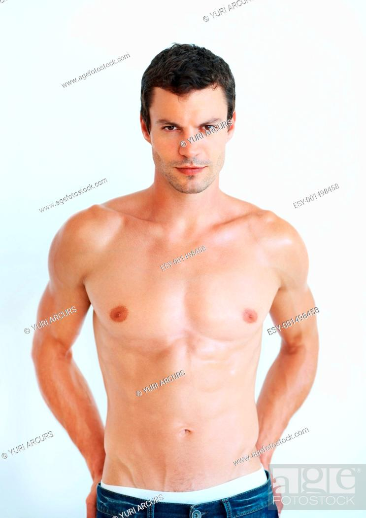 Stock Photo: Portrait of sexy handsome man with muscular body.