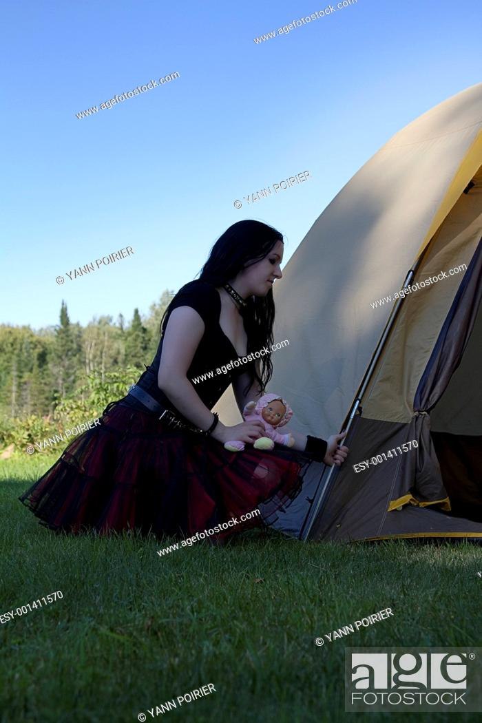 Stock Photo: Goth girl camping.
