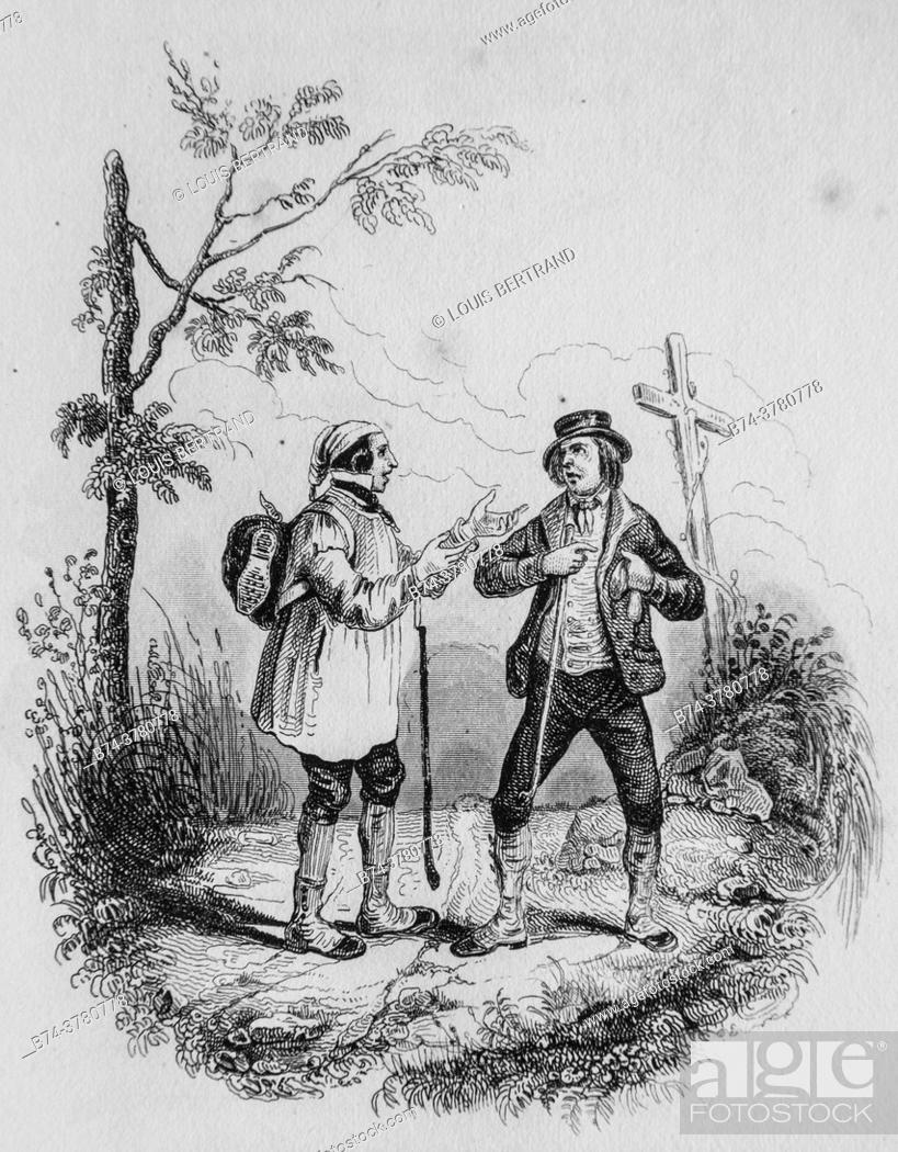 Photo de stock: the two travelers, florian fables illustrated by victor adam, publisher delloye, desme 1838.