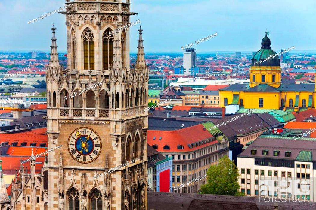 Stock Photo: Glockenspiel Clock, Theatine Church in Munich.