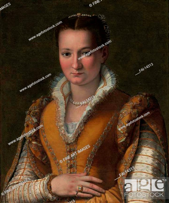 Stock Photo: Portrait of Bianca Cappello, Second Wife of Francesco I de' Medici. Allori, Alessandro (1535-1607). Oil on canvas. Mannerism. Private Collection.