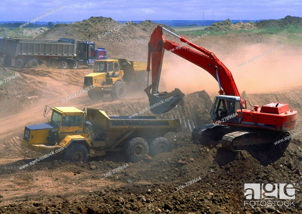 Stock Photo: Heavy equipment working on a road construction.