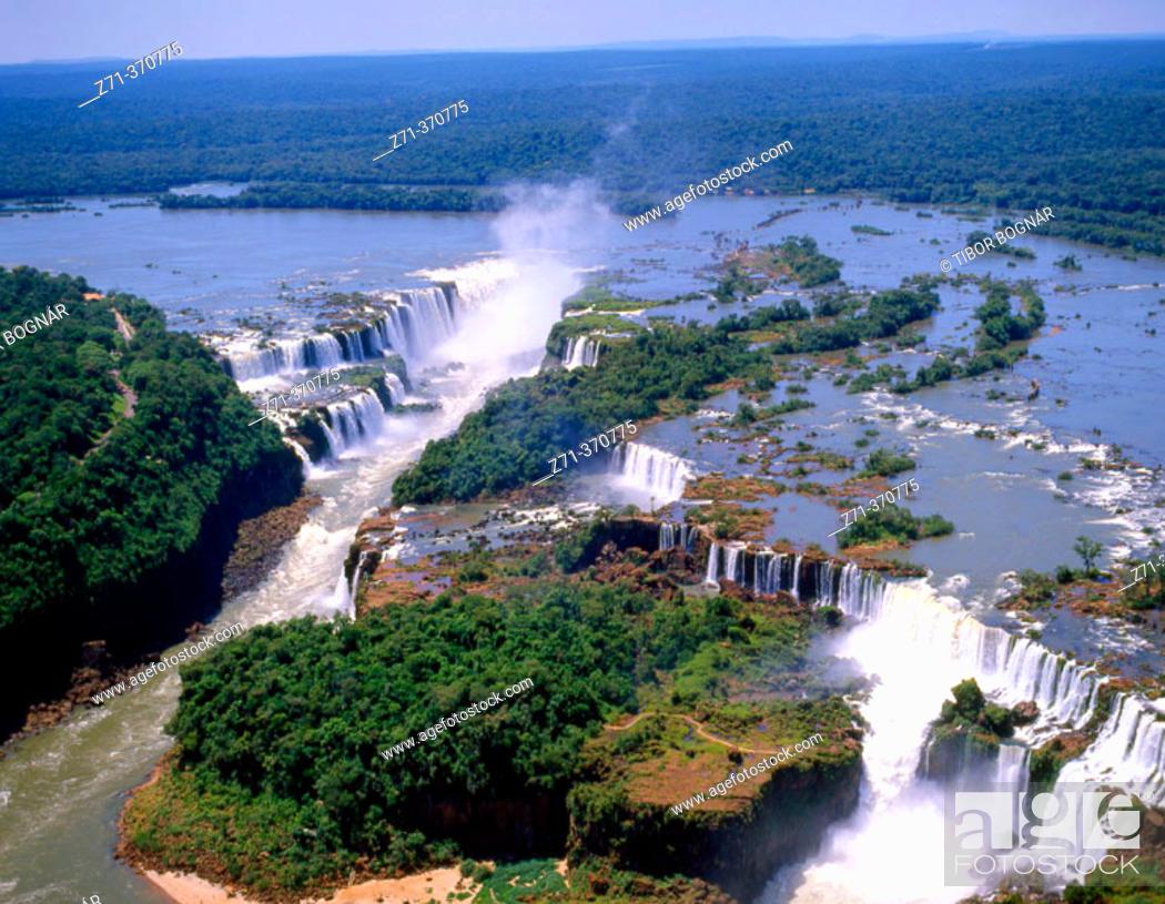 Stock Photo: Aerial view of Iguazu Falls. Argentina-Brazil border.